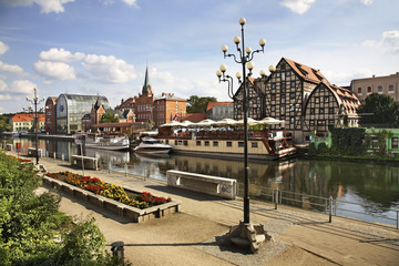 Brda river bank in Bydgoszcz. Poland