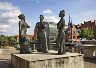 Sculpture on embankment in Bydgoszcz. Poland