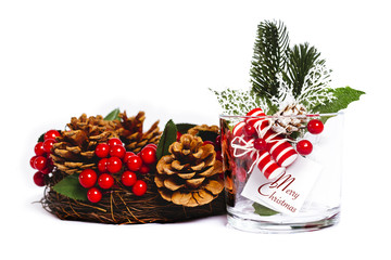 Christmas decoration on glass with white background