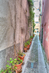Narrow backstreet in Sassari old town in hdr