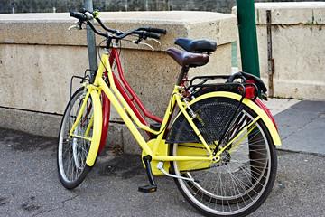 Yellow and red retro bike