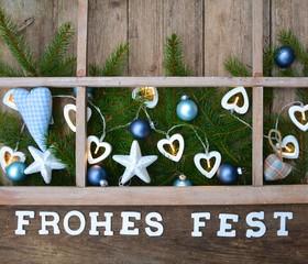 Weihnachtskarte - Frohes Fest / Fensterrahmen