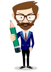 Smiling cartoon Businessman hipster in jacket with a big green