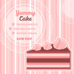 Tasty cake background with round text space