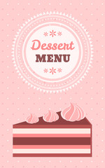 Dessert menu template with a piece of tasty cake