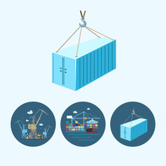 Set icons with   container,  the cranes