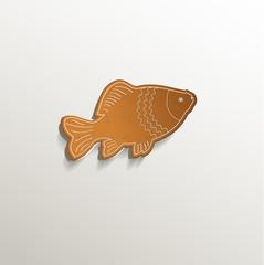 gingerbread fish carp card paper 3D natural vector