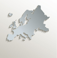 Europe map white blue card paper 3D vector