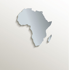 Africa map white blue card paper 3D vector