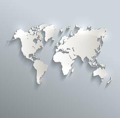 World map blue white card paper 3D raster