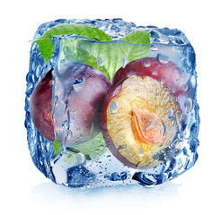 Plums in ice cube