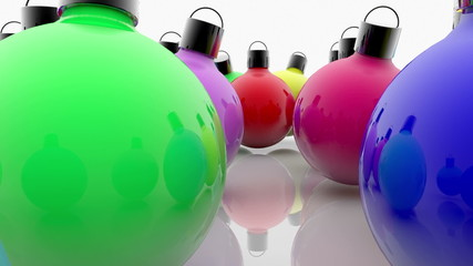 Colorful Christmas decorations on white