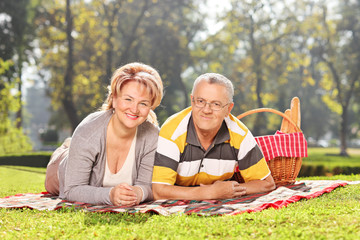 Mature couple lying on a blanket in park