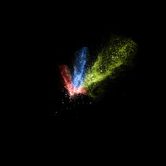 Stop motion of red, blue and green dust explosion isolated on bl
