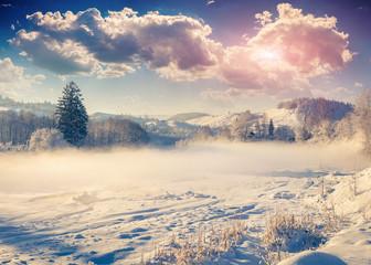 Beautiful winter landscape in the mountain village.