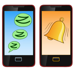 Cartoon hand draw cell phone in two mode