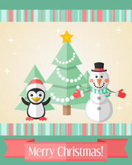 Christmas card with penguin and snowman and fir tree