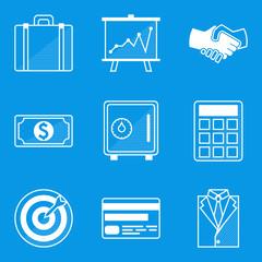 Blueprint icon set. Business