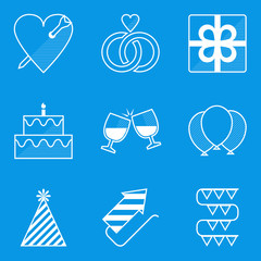 Blueprint icon set. Holiday. Love
