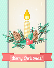 Christmas card with candle and fir twigs