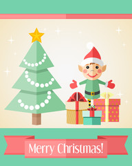 Christmas card with fir tree and elf