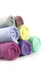 Towels stacked of Different colored