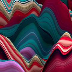 abstract wavy lines, 3d background, decorative landscape