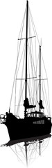 Sailing vessel on pier. Vector silhouette.