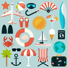 Set of flat summer rest icons. Traveling, tourism, vacation