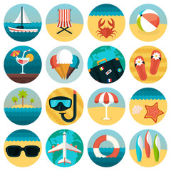 Set of flat summer rest icons combination. Traveling, tourism,