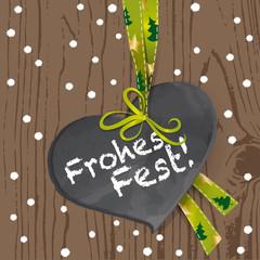 Holzwand mit Herz - Frohes Fest