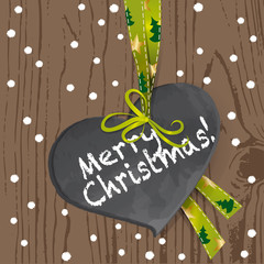 wooden board - merry christmas - heart