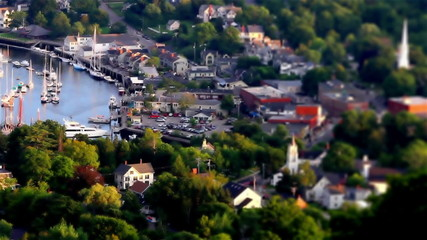 Tilt Shift Small town in Maine USA One