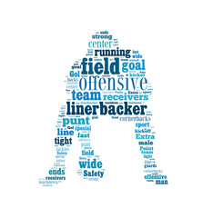 American football player shaped word cloud