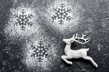 Christmas festive background with white deer
