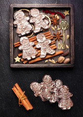 gingerbread, Christmas decorations and spices.