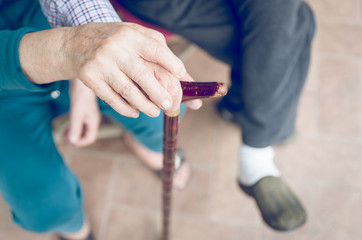 old couple with cane