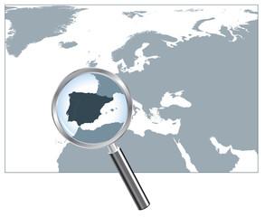 Europe Map Loupe Iberian Peninsula - Gray EPS8