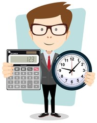 cartoon businessman with a big calculator and clock in his hands