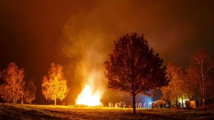 St. Martin's Day Big Fire Timelapse 4K - Panning