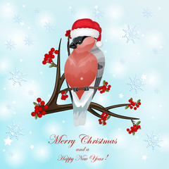 Christmas card with bullfinch and berry
