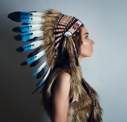 Indian girl in a headdress