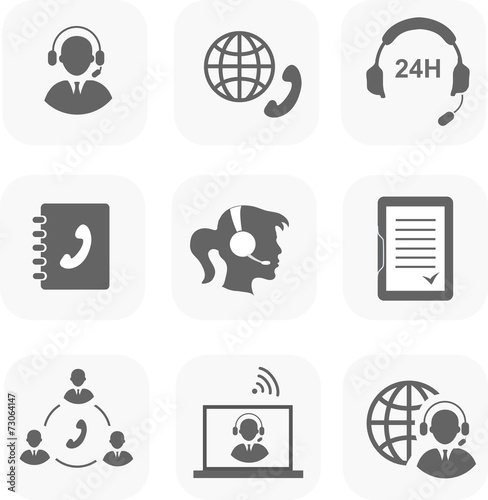 Call center servise set icons phone assistance and headset - 73064147