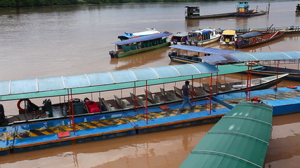 Passenger boats docked in the Amazon