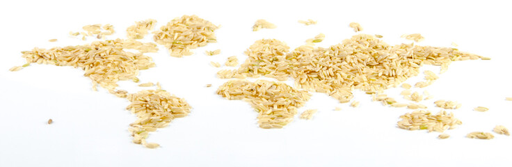 map of the world made of raw natural rice on white background