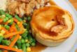 Steak Pie with Mash, Vegetables & Gravy