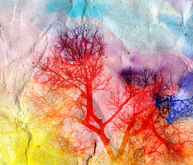 bright watercolor landscape with trees