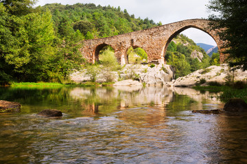 Medieval arched bridge   in  Pyrenees. Catalonia