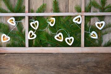 Hintergrund - Weihnachtsfenster mit Lichterkette