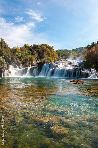 Leinwanddruck Bild National park Krka, waterfalls, Croatia